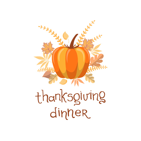カスタム手描き下ろし書道引用「感謝祭のディナー」とカラフルな背景に紅葉、カボチャ タイポワーク タイポグラフィ ポスター。完全に編集可能