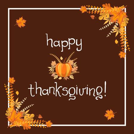 カスタム手描きの書道引用「ハッピーサンクスギビング!」と秋の葉とカボチャとカラフルな背景を持つ手書きのタイポグラフィポスター。完全に編