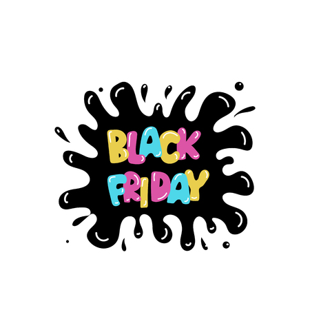 Hand-lettering Black Friday sale typographic poster. Modern calligraphy. Funny colorful letters on a splash and drops background.  For banners, flyers, web and offline ads.