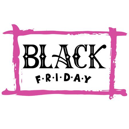 手レタリング黒金曜日販売活版印刷のポスター。現代書道。手描画ブラシ フレームで優雅、女性的な手紙。ホワイト ブラック ピンクのパレットで