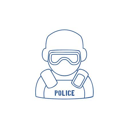 保護具とアイシールドを着用した警官のラインアイコン。白い孤立した背景にトレンディな線形デザイン。法執行機関の象徴