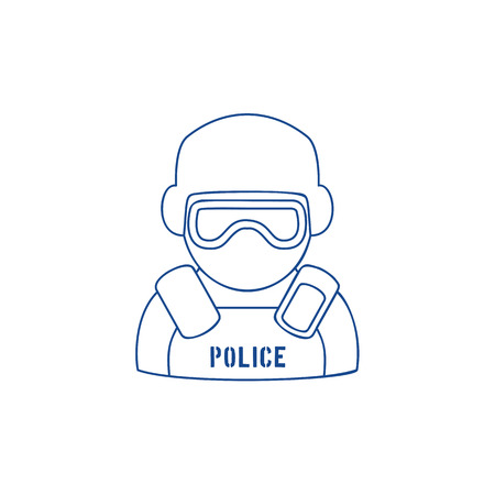 Line icon of policeman wearing protection gear and eyeshield. Trendy linear design on white isolated background. Symbol of law enforcement. Illustration