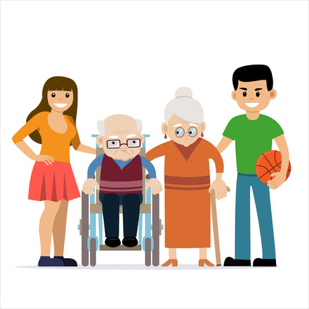Cute vector illustration of happy grandparents with grandchildren. Grandfather in wheelchair. Granny with cane. Cartoon characters. Happy family. Generations. People with disability.