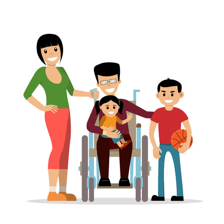 Disabled young man in wheelchair with his family. Father, mother, kids. Flat vector characters in isolated background. Concept for happy family,  lifestyle and opportunities for people with disability