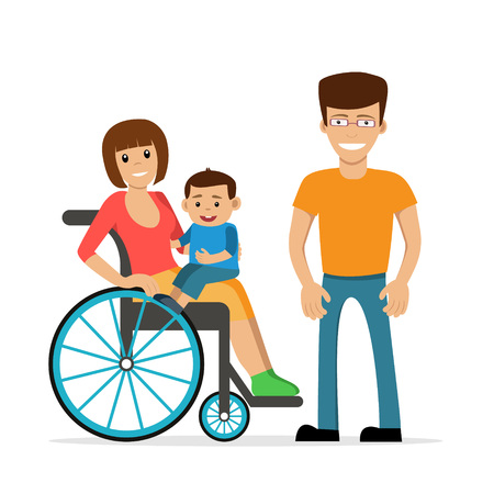 Disabled young woman in wheelchair with her son and husband. Flat vector characters in isolated background. Concept for happy family, lifestyle and opportunities for people with disability. Ilustração