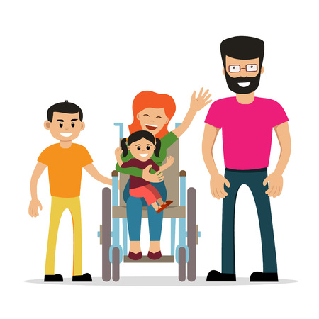 Disabled young woman in wheelchair with her son, daughter and husband. Cartoon vector characters. Isolated background. Concept for happy family,  lifestyle and opportunities for people with disability