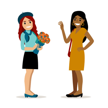 Lovely young Caucasian girl with flowers meets her African american girlfriend. Vector art isolated on white. Cartoon style. Best friends. Lesbian couple on date. Happy smiling young woman.