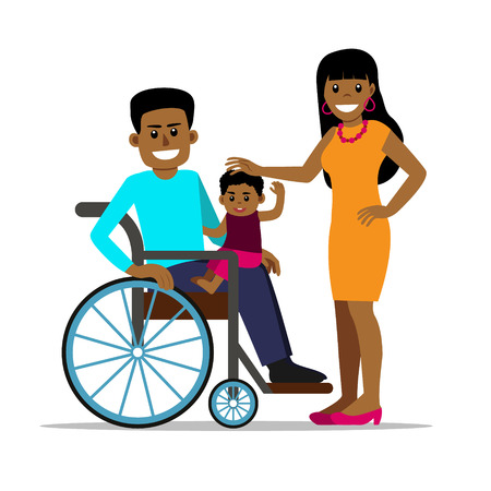 家族と一緒に車椅子に乗った障害のあるアフリカ人男性。幸せな父、母と息子。孤立した背景の漫画ベクトル文字。障がい者のライフスタイルと機