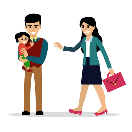 Stay-at-home dad holding a baby daughter meets the mother after work. Vector illustration, cartoon style. Isolated on white. Happy parenting. Father with a child and business woman. Modern family.