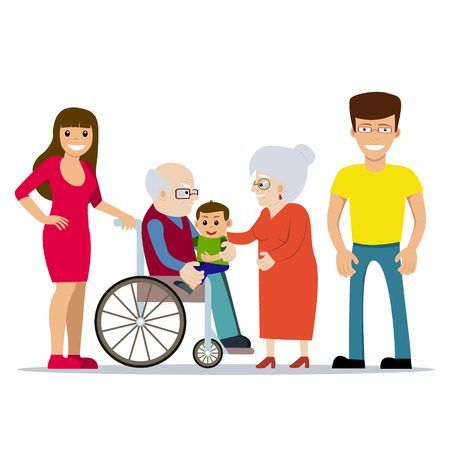 Cute vector illustration of happy grandparents with their children and grandchild. Grandfather in wheelchair holding baby on his lap. Cartoon style. Happy family. Generations. People with disability. Ilustração