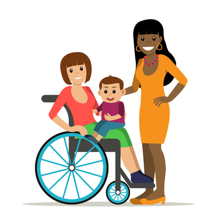 Disabled young woman in wheelchair with baby and girlfriend. Same-sex family. Cartoon vector characters in isolated background. Concept for lifestyle and opportunities for people with disability.