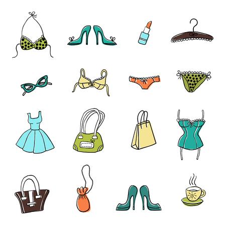 女性用アクセサリーや洋服を手描きのスケッチのセット。