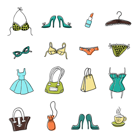 Set of hand-drawn sketch women's accessories and clothes.