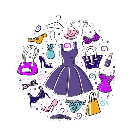 ●ドレス、ランジェリー、シューズ、バッグなど、手描きのスケッチレディースアクセサリーや服のセットで、ベクトル落書きカラフルなイラスト