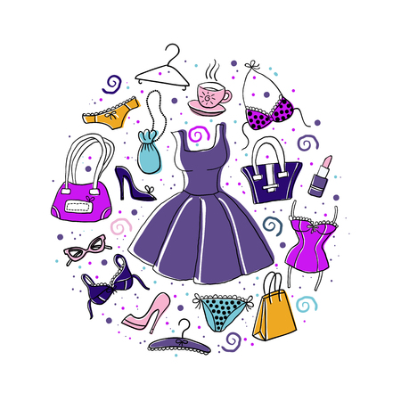 Set of hand-drawn sketch womens accessories and clothes - dress, lingerie, shoes, bags etc. - in circle composition Vector doodle colorful illustration. Cartoon elements.