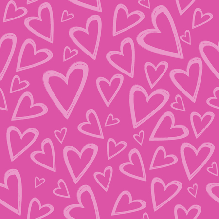 Romantic seamless pattern with hand drawn hearts on a pink background . Best choice for wedding or Valentine Day greeting cards and invitation, textile, print, wallpaper, background or wrapping paper.