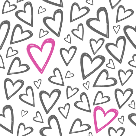 Romantic seamless pattern with hand drawn grey and pink hearts on a white background . Best choice for wedding or Valentine Day greeting cards and invitation, textile, print, wallpaper, background or wrapping paper.