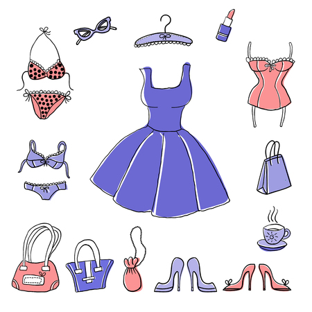 Set of hand-drawn sketch womens accessories and clothes. Illustration