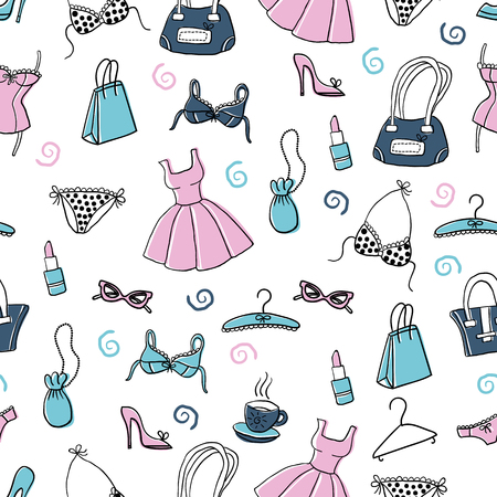 Vector seamless pattern with cute hand-drawn women's accessories - clothing, lingerie, lipstick, bags, shoes etc. Design for wrapping paper, textile, backgrounds, wallpaper.