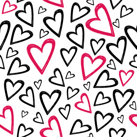 Romantic seamless pattern with hand drawn black and red hearts on a white background . Best choice for wedding or Valentine Day greeting cards and invitation, textile, print or wrapping paper. Ilustração