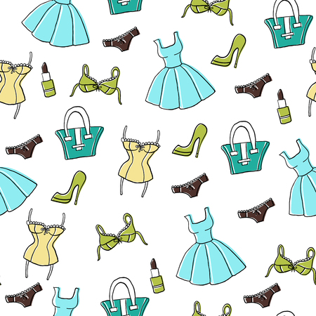 Vector seamless pattern with cute hand-drawn women's accessories - clothing, lingerie, lipstick, bags, shoes etc.