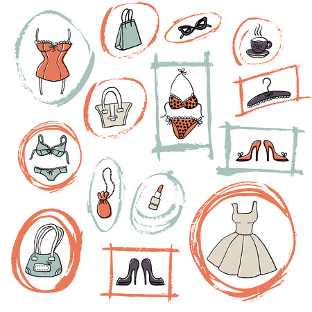 Set of hand-drawn sketch women's accessories and clothes - dress, lingerie, shoes, bags etc. Doodle colorful illustration. Cartoon elements in grunge frames. Imagens