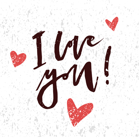 I love you hand lettering typography vector design.  イラスト・ベクター素材