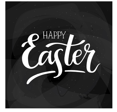 Happy Easter, hand lettering typography poster with modern brush calligraphy for greeting cards, decoration, prints and web.  イラスト・ベクター素材
