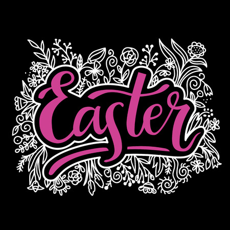 Easter, hand lettering typography poster with modern brush calligraphy and floral design for greeting cards, decoration, prints and web.