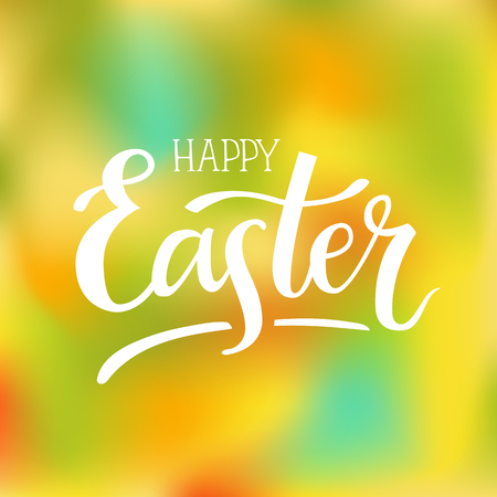 Happy Easter. Hand-lettering typography poster with modern brush calligraphy isolated on spring colorful blurred background.