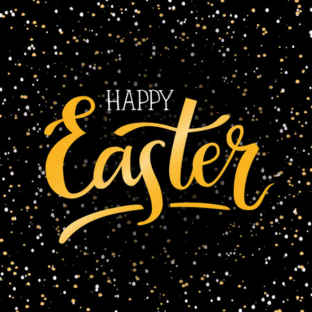 Happy Easter hand-lettering typography poster with modern brush calligraphy vector illustration on isolated dark background. Design for greeting cards, t-shirts, decoration, prints and web.  イラスト・ベクター素材