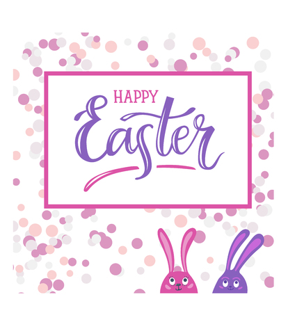 Happy Easter. Hand-lettering typography poster with modern brush calligraphy and cute easter bunnies. Vector illustration. Design for greeting cards, t-shirts, decoration, prints and web.