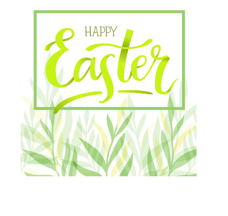 Happy Easter. Hand-lettering typography poster with modern brush calligraphy on fresh spring leaves and herbs background.