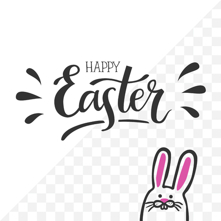 Happy Easter. Hand-lettering typography poster with modern brush calligraphy and cute hand-drawn easter bunny. Vector illustration on isolated background. For photo overlays, greeting cards etc.  イラスト・ベクター素材