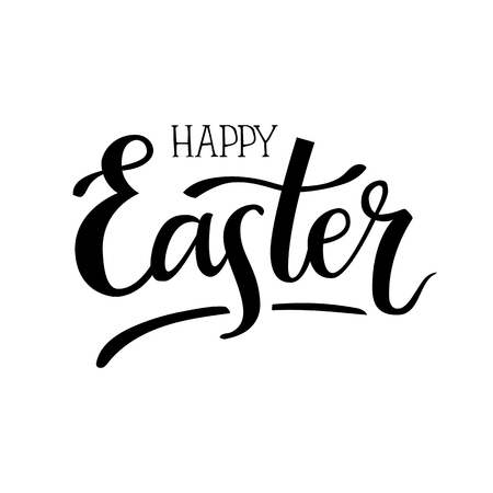 Happy Easter. Hand-lettering typography poster with modern brush calligraphy. Black on white. Vector illustration. Design for greeting cards, t-shirts, decoration, prints and web.  イラスト・ベクター素材