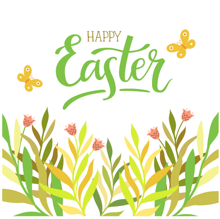 Happy Easter. Hand-lettering typography poster with modern brush calligraphy on spring leaves and herbs background. Vector illustration. Design for greeting cards, decoration, prints and web.  イラスト・ベクター素材