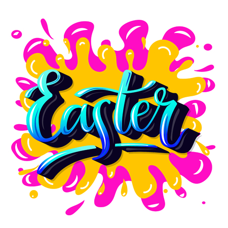 Easter. Hand-lettering typography poster with modern brush calligraphy. Trendy graffiti style.  イラスト・ベクター素材