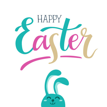 Happy Easter. Hand-lettering colorful typography poster with modern brush calligraphy and cute hand-drawn Easter bunny. Ilustração