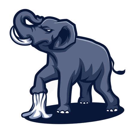Elephant cartoon logo design vector illustration