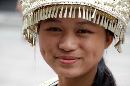 miao: Girl dressed in traditional Miao dress Dehang Hunan Province China Editorial