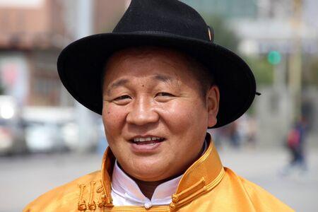 mongolian: Mongolian man wearing traditional dress Sukhbaatar Square, Ulaanbaatar