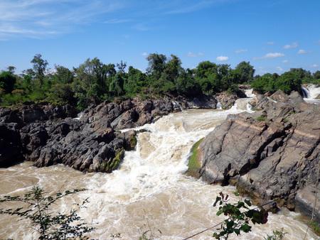 khong river: Tat Somphamit, Don Kong, Laos Stock Photo