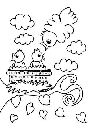 sheets coloring the bird family Vektoros illusztráció