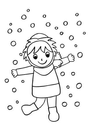 Snow girl. Doodle.