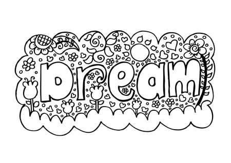 Dream, doodle sketch. Ilustração