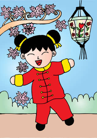 Little girl, happy chinese new year.