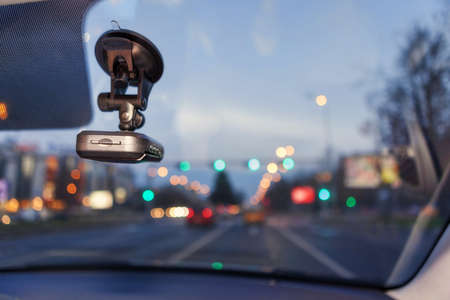 dash: Proof, Safety Camera Inside Car Stock Photo