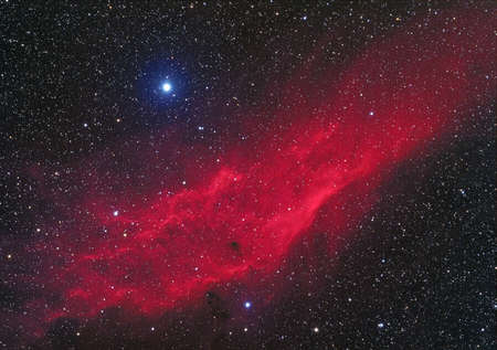 The California Nebula  NGC 1499  is an emission nebula located in the constellation Perseus  It is so named because it appears to resemble the outline of the US State of California on long exposure photographs