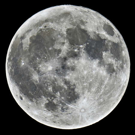 moon crater: A detailed image of a full Moon taken with an astronomical telescope Stock Photo
