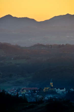central european: Sunset colors over a small central european town in Zagorje, Croatia.